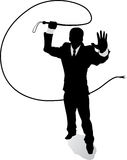 Businessman with whip. Outline Business man with whip Royalty Free Stock Photography