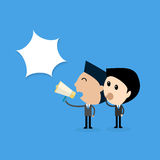 Businessman whisper a message  communication no secret concept. Vector Stock Image