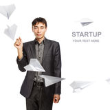 Businessman whit paper planes Royalty Free Stock Photo
