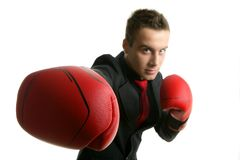 Businessman whit red boxer gloves Royalty Free Stock Photos