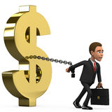 Businessman on white background chained dollar. 3d businessman on white background chained dollar Stock Photo