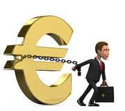 Businessman on white background chained euro. 3d businessman on white background chained euro Royalty Free Stock Photos