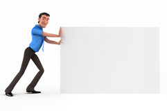 Businessman with white board Stock Photo