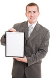Businessman with a white board in his hands. Stock Photo