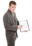 Businessman with a white board in his hands. Stock Photography