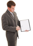 Businessman with a white board in his hands. Royalty Free Stock Image