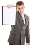 Businessman with a white board in his hands. Royalty Free Stock Photo
