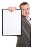 Businessman with a white board in his hands. Stock Photos