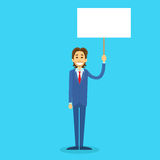 Businessman With White Board, Signboard, Showing. An Empty Copy Space, Business Man Cartoon Flat Vector Illustration Stock Photo