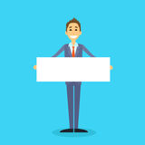Businessman With White Board, Signboard, Showing. An Empty Copy Space, Business Man Cartoon Flat Vector Illustration Royalty Free Stock Images