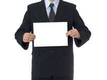 BUSINESSMAN  WITH WHITE CARD Royalty Free Stock Images