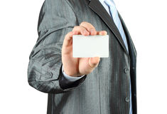 Businessman with white card Stock Photo