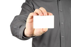 Businessman with white card Stock Photography