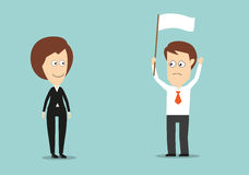 Businessman with white flag conceded defeat. Businessman with raised hands and white flag conceded defeat in conflict with his female boss. Cartoon flat style Stock Photos