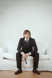 Businessman in white room stock photos