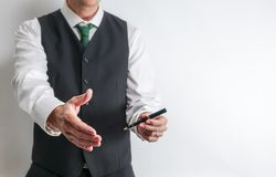 Businessman have hand reached out to handshake. royalty free stock image