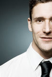 Businessman in white shirt in confident pose. royalty free stock images