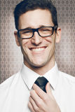Businessman in white shirt on gray background. Royalty Free Stock Photography