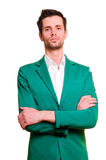 Businessman in a white shirt and green jacket Stock Image