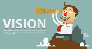 Businessman in a white shirt and red tie standing on top of the mountain and looks through a telescope. vector cartoon Stock Photo