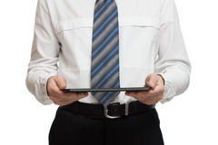 Businessman in white shirt with a tablet Stock Photos