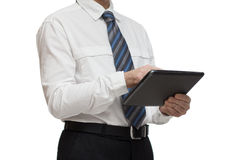 Businessman in white shirt with a tablet Royalty Free Stock Photos