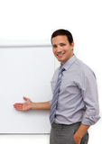 Businessman with a whiteboard. Isolated on a white background Royalty Free Stock Photo