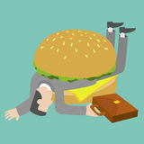 Businessman who get trapped by burger Stock Images