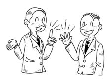 Businessman who is having fun speaking opinions - line drawing vector illustration