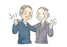 Businessman who makes a victory pose with each other - manga royalty free illustration