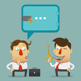 Businessman who offers solutions to his partner. cartoon character in flat design. Stock Photo