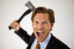Businessman Wielding Axe Royalty Free Stock Photo