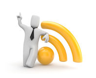 Businessman with WIFI symbol. Business concept. Separated on white Royalty Free Stock Photography