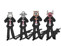 Businessman wild wolf bull sheep tiger Stock Images