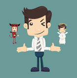Businessman wills with devil and an angel Stock Photo