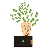 Businessman win. Online business deal. Vector flat Royalty Free Stock Photos