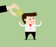 Businessman With Wind-up Key In Head Royalty Free Stock Image