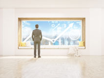 Businessman window seat and chart Royalty Free Stock Image