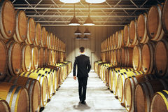 Businessman in winery Stock Photo