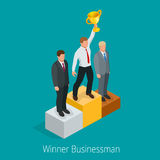 Businessman with Winner cup. Winner concept. Businessman on first place pedestal rising hand with gold cup. Flat 3d web Royalty Free Stock Photos