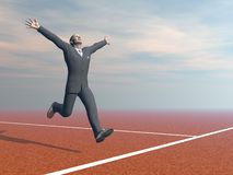 Businessman is winner - 3D render. Businessman running happily to the finnishing line - 3D render Stock Photo