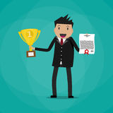 Businessman winner holding certificate and trophy Royalty Free Stock Photography