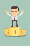 Businessman winner standing in first place on a. Podium he celebrates his victory vector illustration Royalty Free Stock Images
