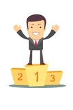 Businessman winner standing in first place on a podium Stock Photos