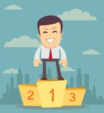 Businessman winner standing in first place on a podium Stock Image