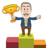 Businessman - The winner. Vector illustration of a businessman gets the first place and holding a trophy Royalty Free Stock Image