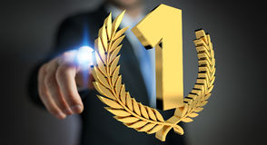 Businessman winning the first golden price 3D rendering. Businessman on blurred background winning the first golden price 3D rendering Stock Photography