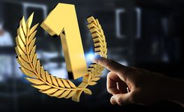 Businessman winning the first golden price 3D rendering. Businessman on blurred background winning the first golden price 3D rendering Royalty Free Stock Image