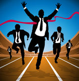 Businessman wins the Race. Illustration of a group of Male Businessmen running in a race depicted as silhouettes Royalty Free Stock Image