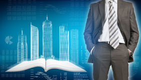 Businessman and wire-frame buildings on open empty Royalty Free Stock Photo